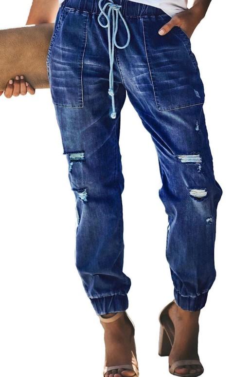 Прокъсани дънки с ластик на колана и крачолите