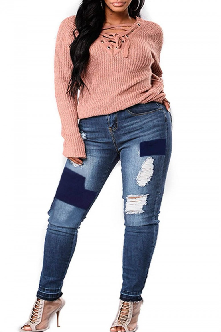 Макси дънки с прокъсано и декоративни кръпки