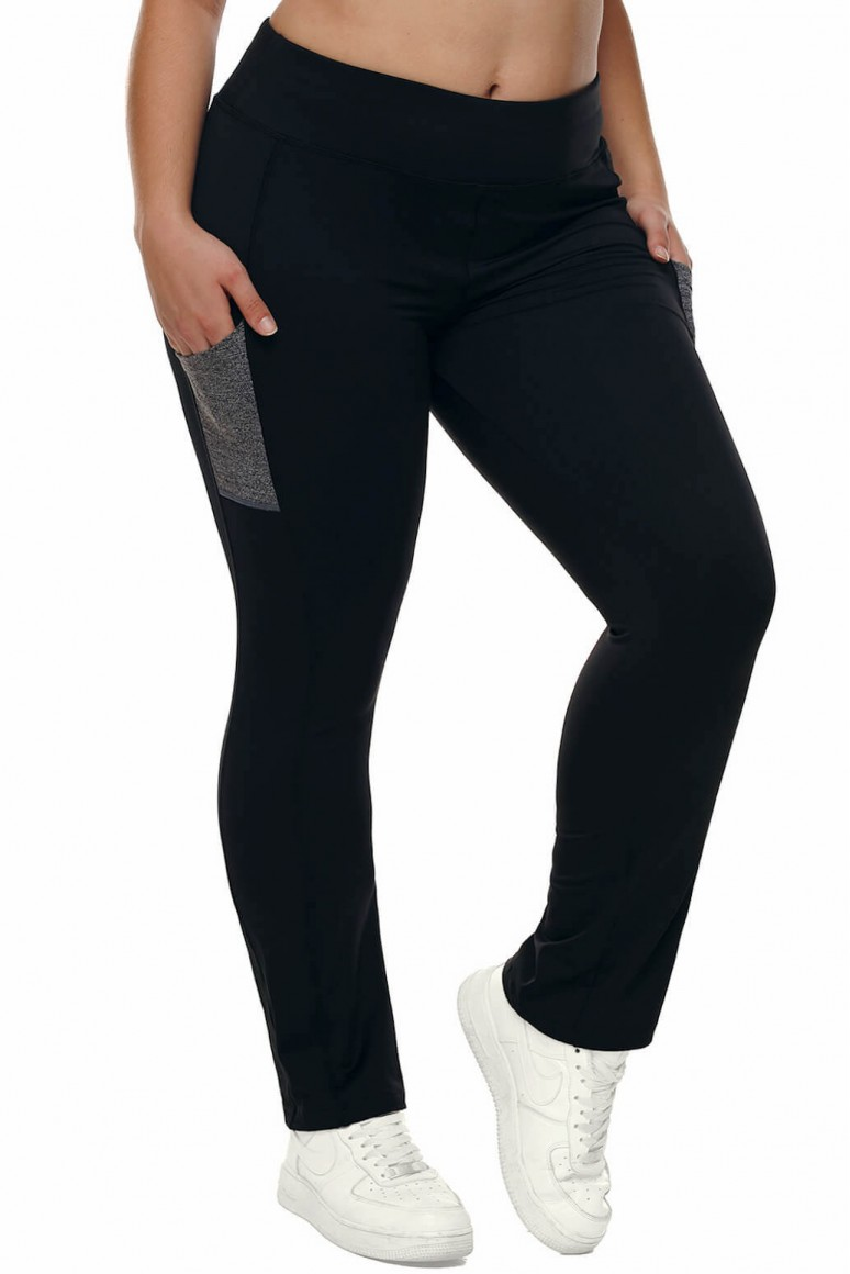 Plus size sports pants with gray pockets
