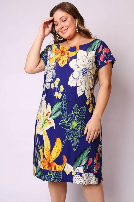 Макси лятна рокля в синьо на цветя