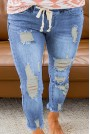 Light ripped jeans with elastic