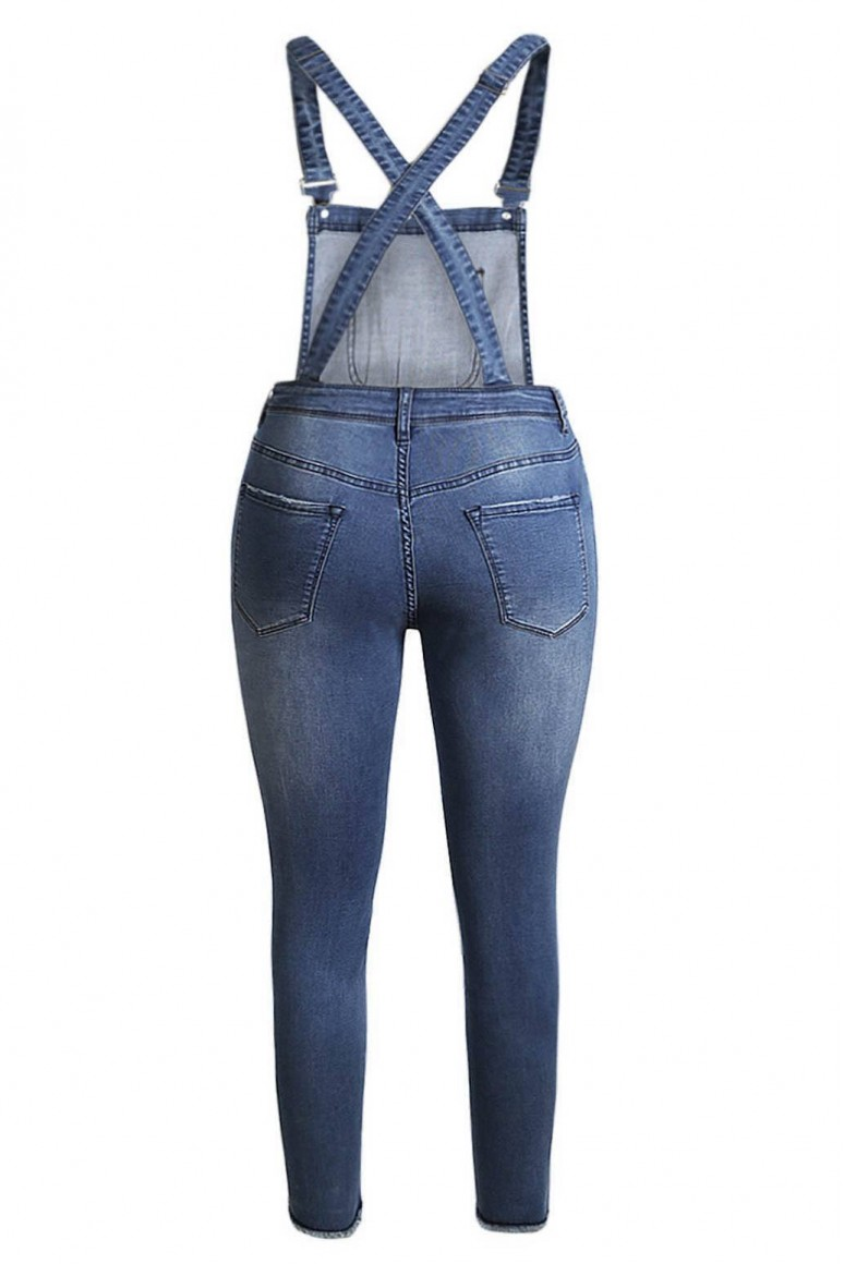 Maxi denim jumpsuit with torn