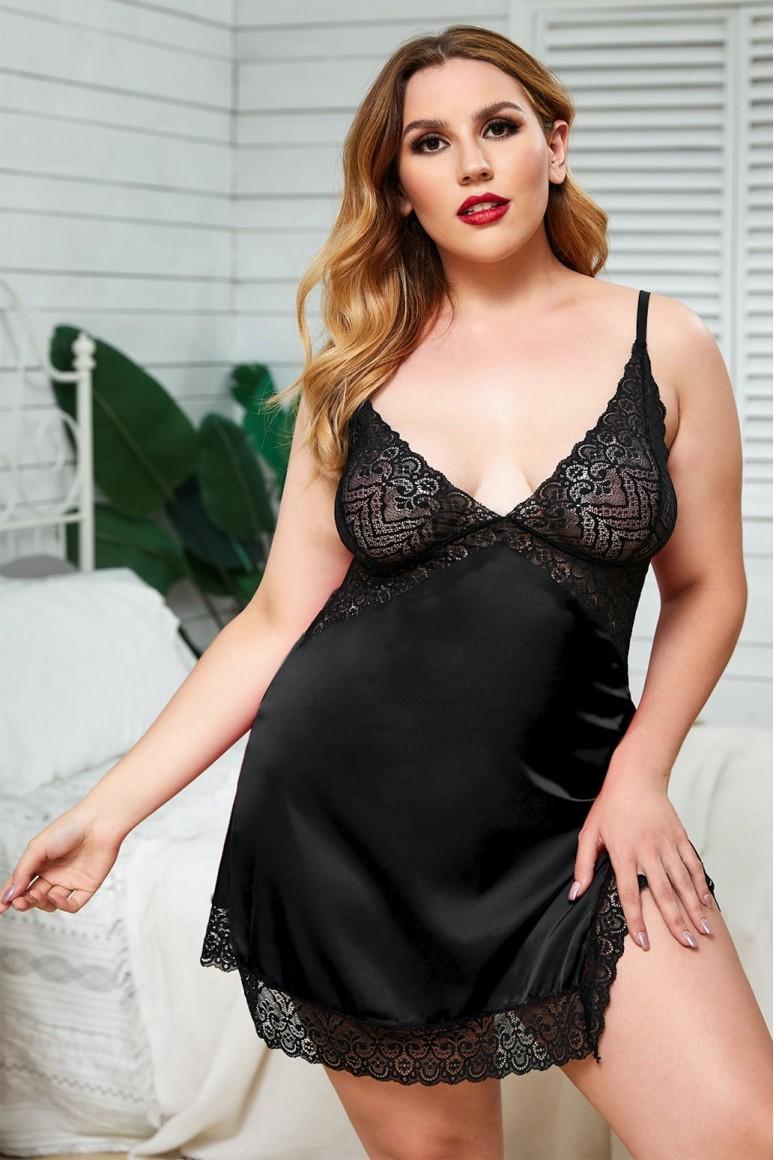 Черна секси макси нощница с дантела и гол гръб