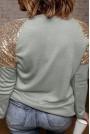 Сива макси блуза със златни пайети на раменете