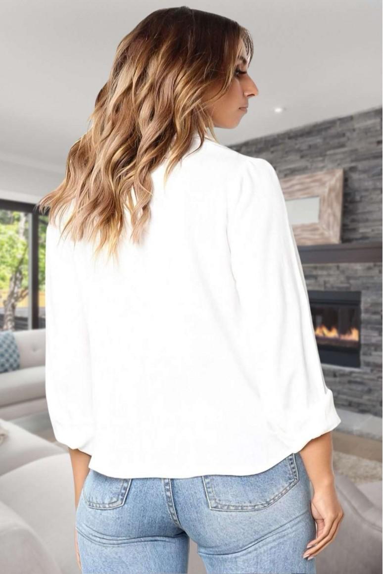 Модерна бяла риза с връзване