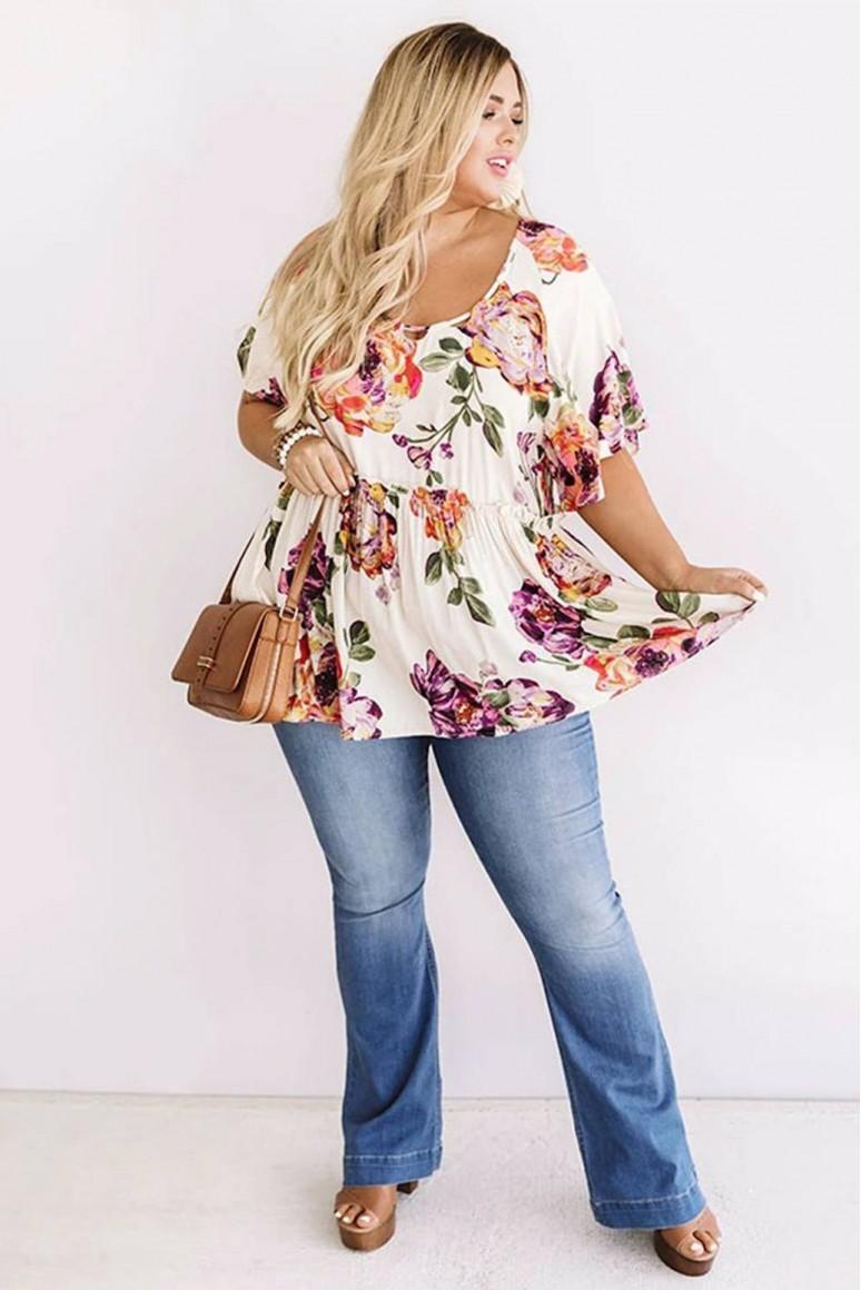 Лятна макси блуза с висока талия