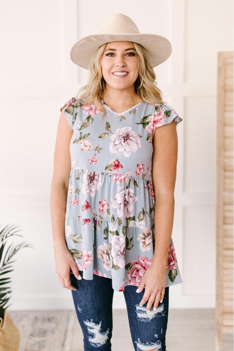 Макси блуза с висока талия в пастелени цветове