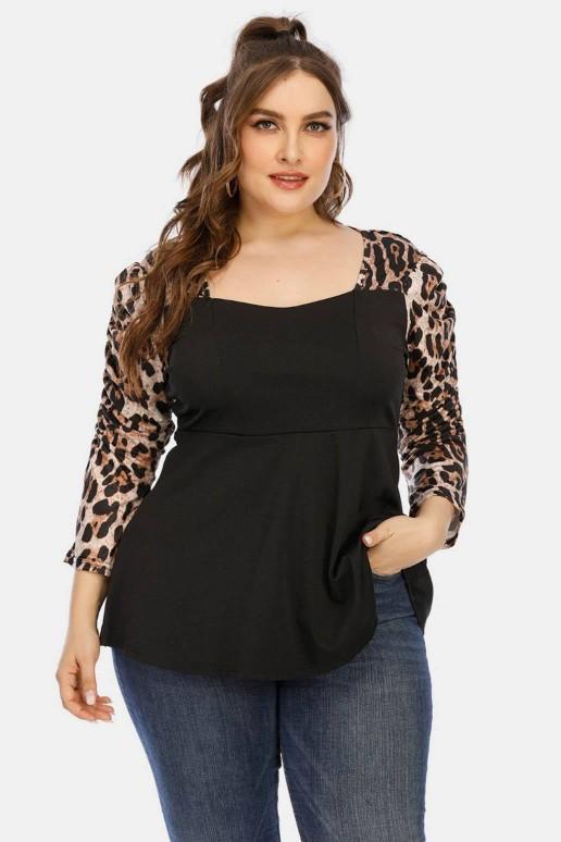 Модерна черна макси блуза с леопардови ръкави