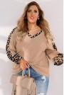 Макси бежова блуза с леопардови акценти