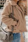 Тънко пухкаво бежово макси яке с цип