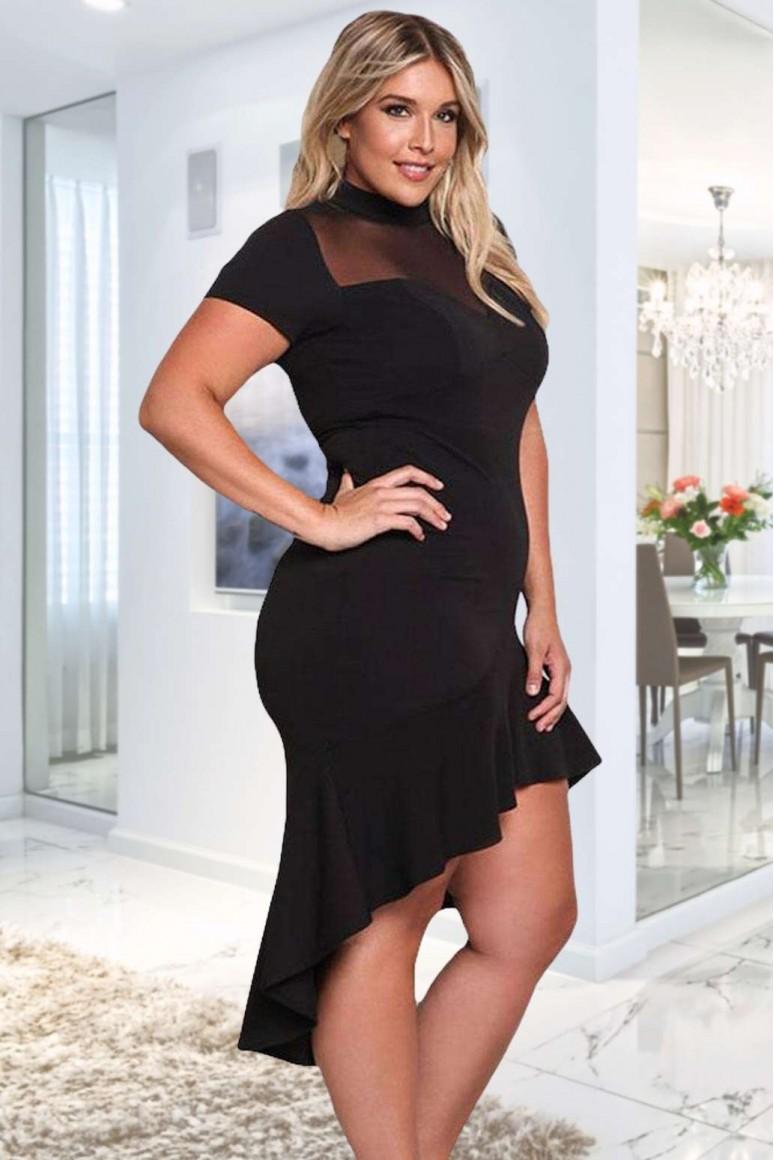 Коктейлна черна рокля с асиметрична дължина