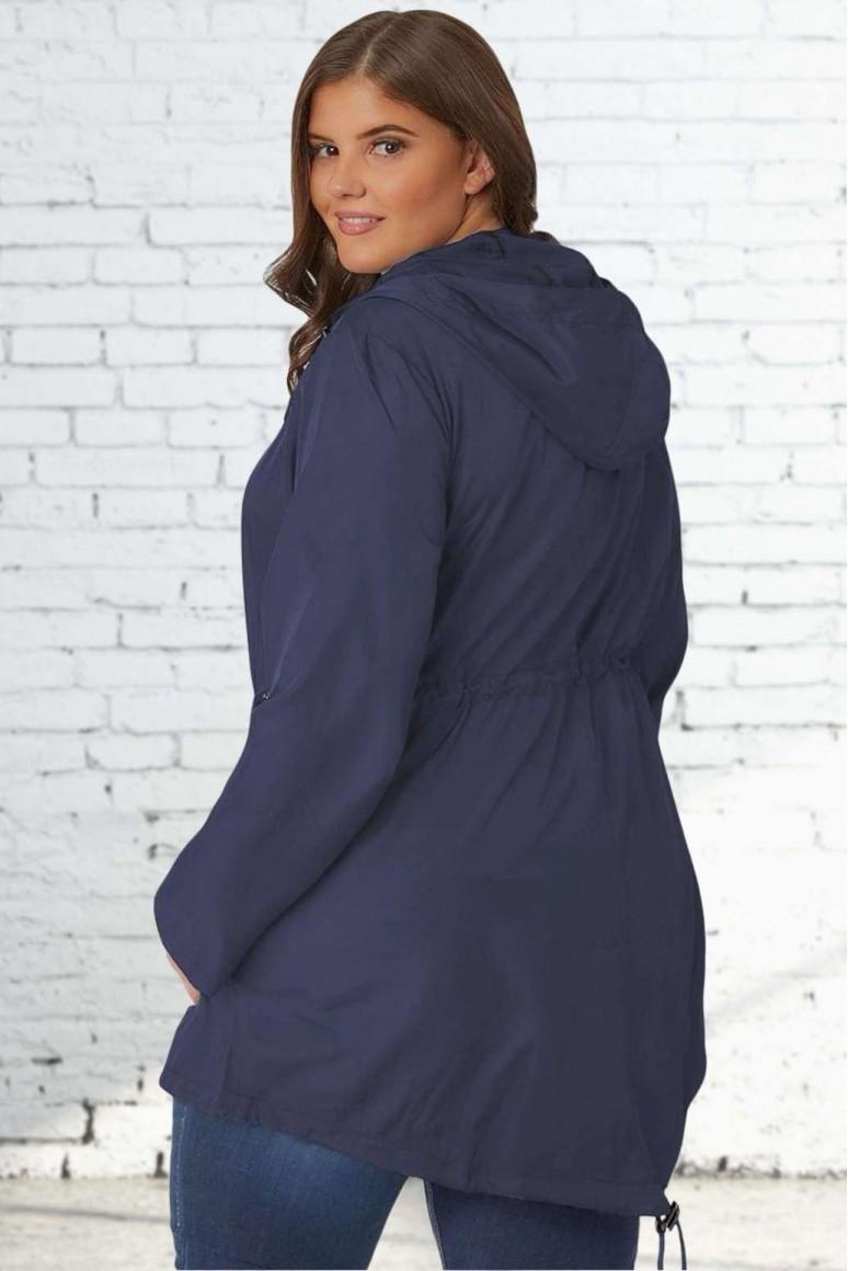 Тънко тъмно синьо макси яке - парка с качулка