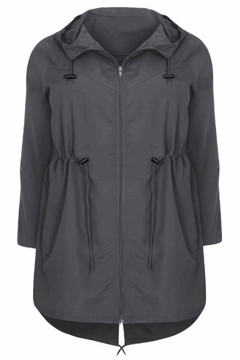 Тънко сиво макси яке - парка с качулка