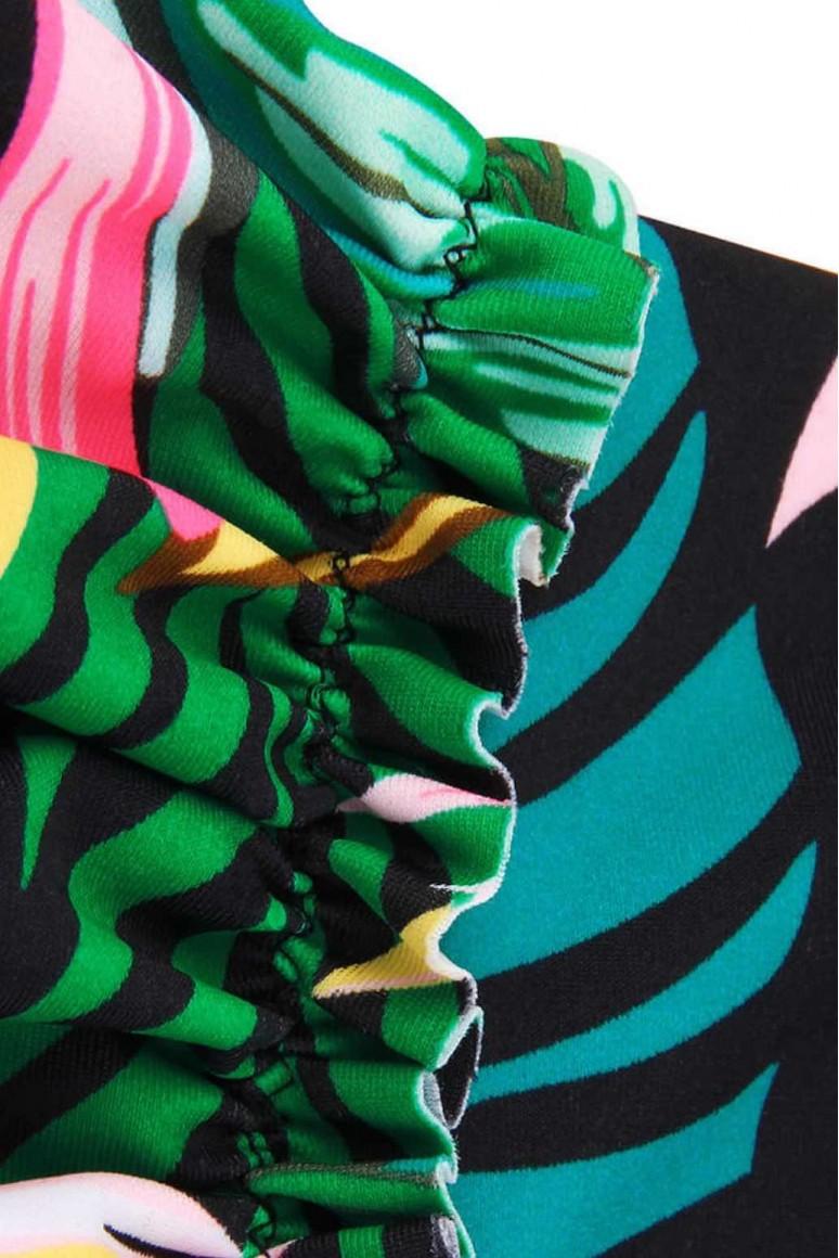 Макси танкини флорален принт  в зелено с раирано долнище