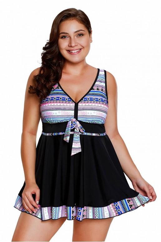 Танкини тип рокля в свеж многоцветен принт