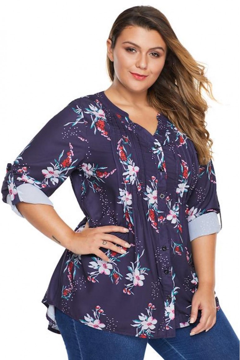 Лилава макси блуза с цветя