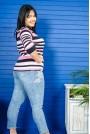 Блуза 3/4-ти ръкав розово-синьо райе