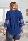 Макси синя блуза с бродерия