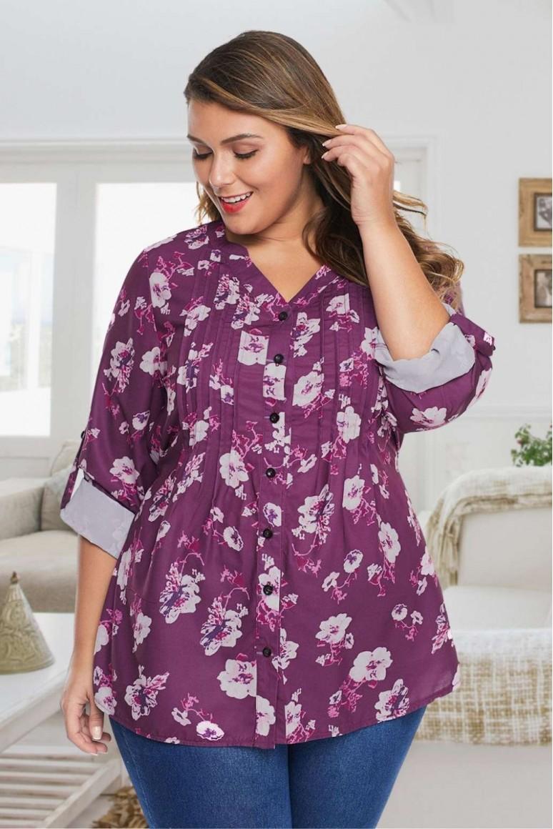 Тъмно розова макси блуза-риза с цветя