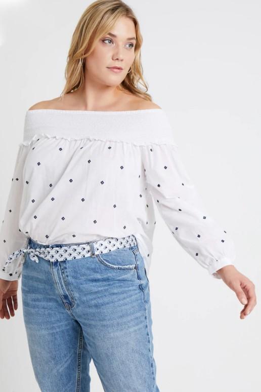 Бяла макси блуза с бродирани цветчета