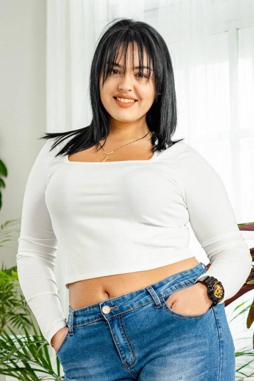 Бяла рипсена блуза с квадратно деколте