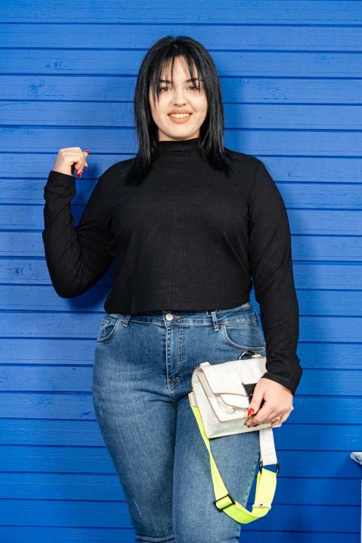 Черна рипсена блуза полу-поло