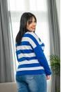Блуза морско синьо и бяло райе