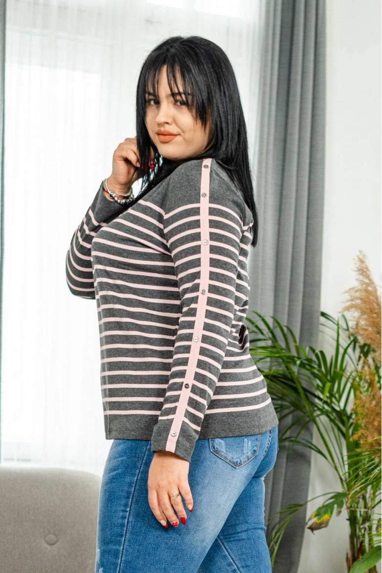 Блуза с дълъг ръкав сиво и розово райе