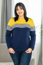 Блуза с дълъг ръкав жълто и тъмно синьо