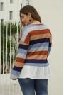 Макси блуза с ефект подаваща се риза праскова