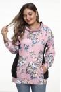 Розова ежедневна макси блуза с принт на рози