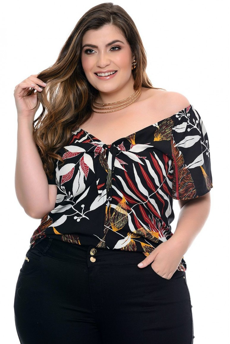 Блуза с къс ръкав и тропически принт в черно