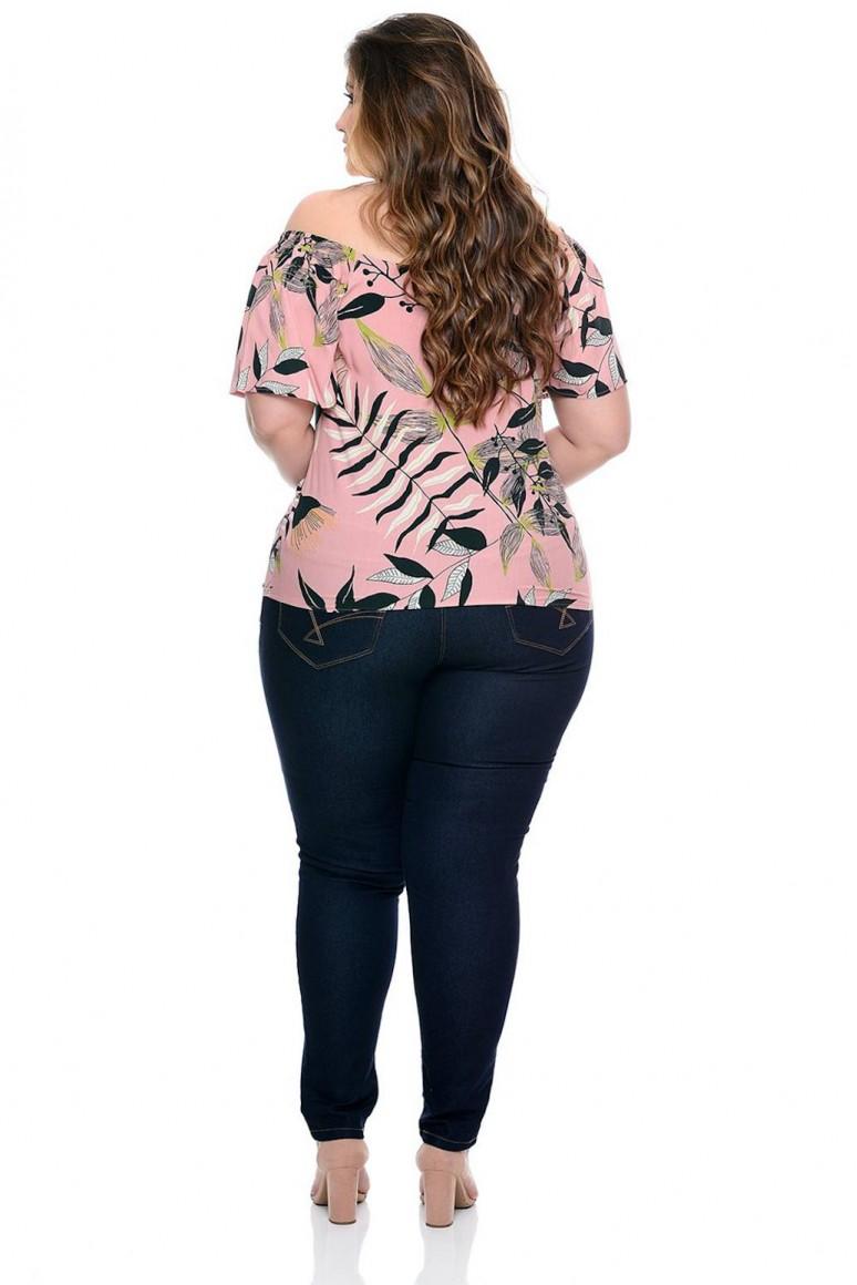 Блуза с къс ръкав и тропически принт в розово