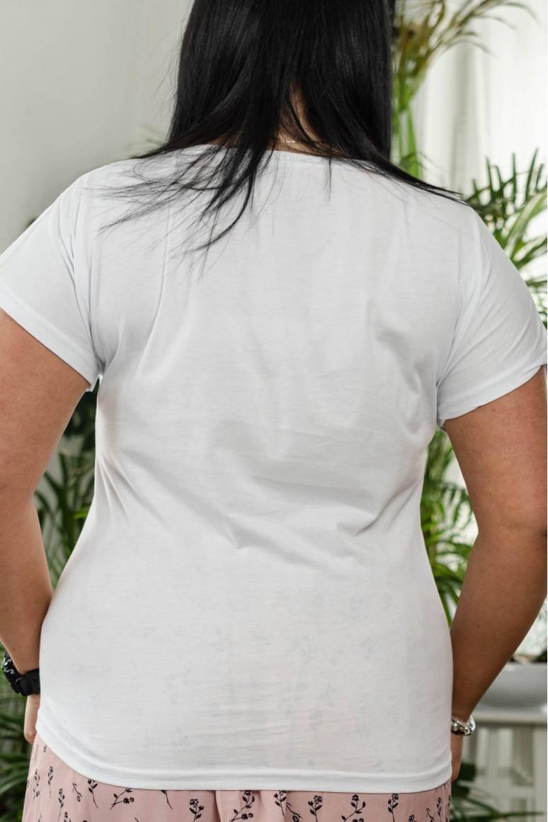 Бяла макси тениска с принт момиче TREND