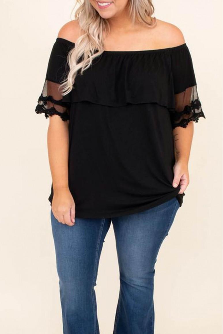 Черна лятна макси блуза с бродирани ръкави