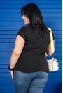 Черна тениска с принт момиче TREND