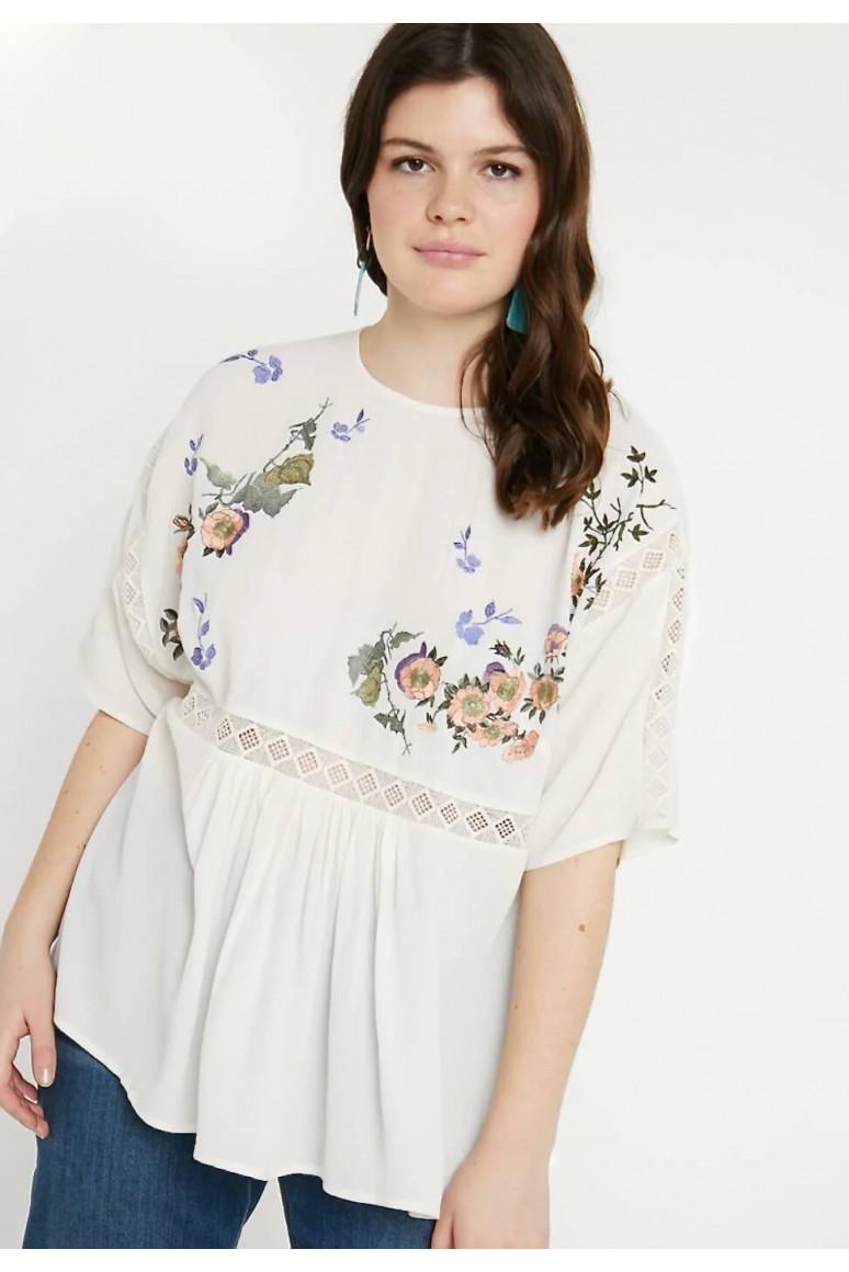 Ефирна бяла макси блуза с  бродерия и плетени елементи