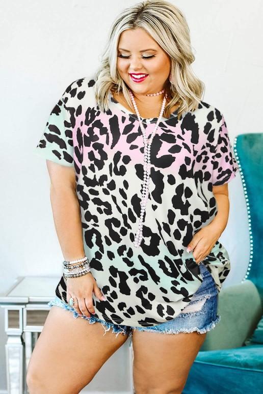 Лятна блуза леопард в мента и розово