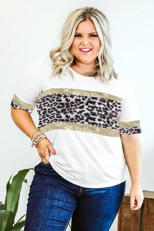 Макси блуза с леопардов акцент и пайети