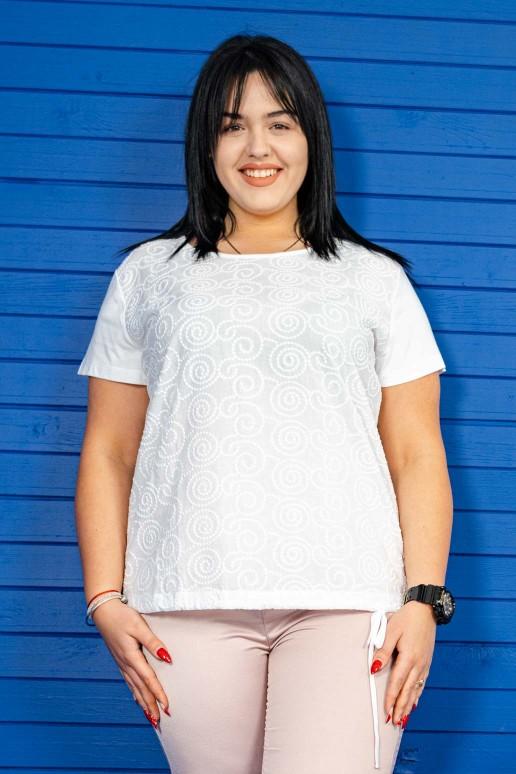 Бяла блуза с къс ръкав бродерия охльовчета