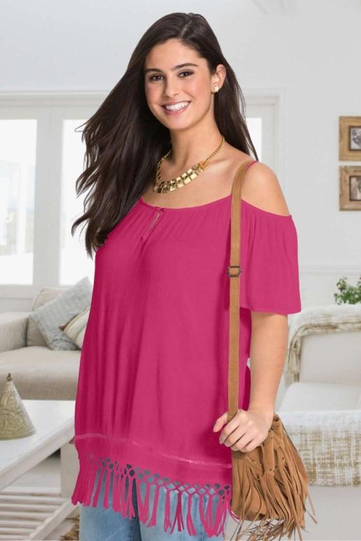 Розова макси лятна блуза с ресни