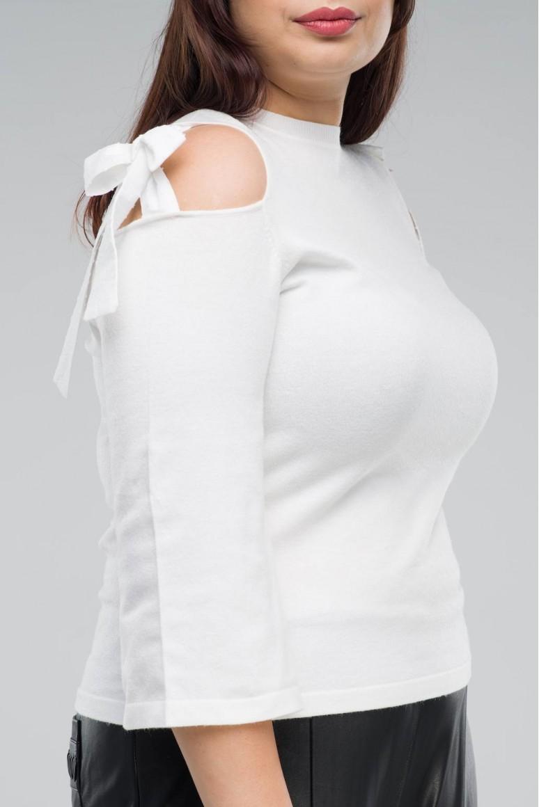 Бяла макси блуза отворено рамо