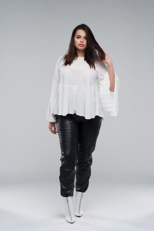 Бяла макси блуза със солей