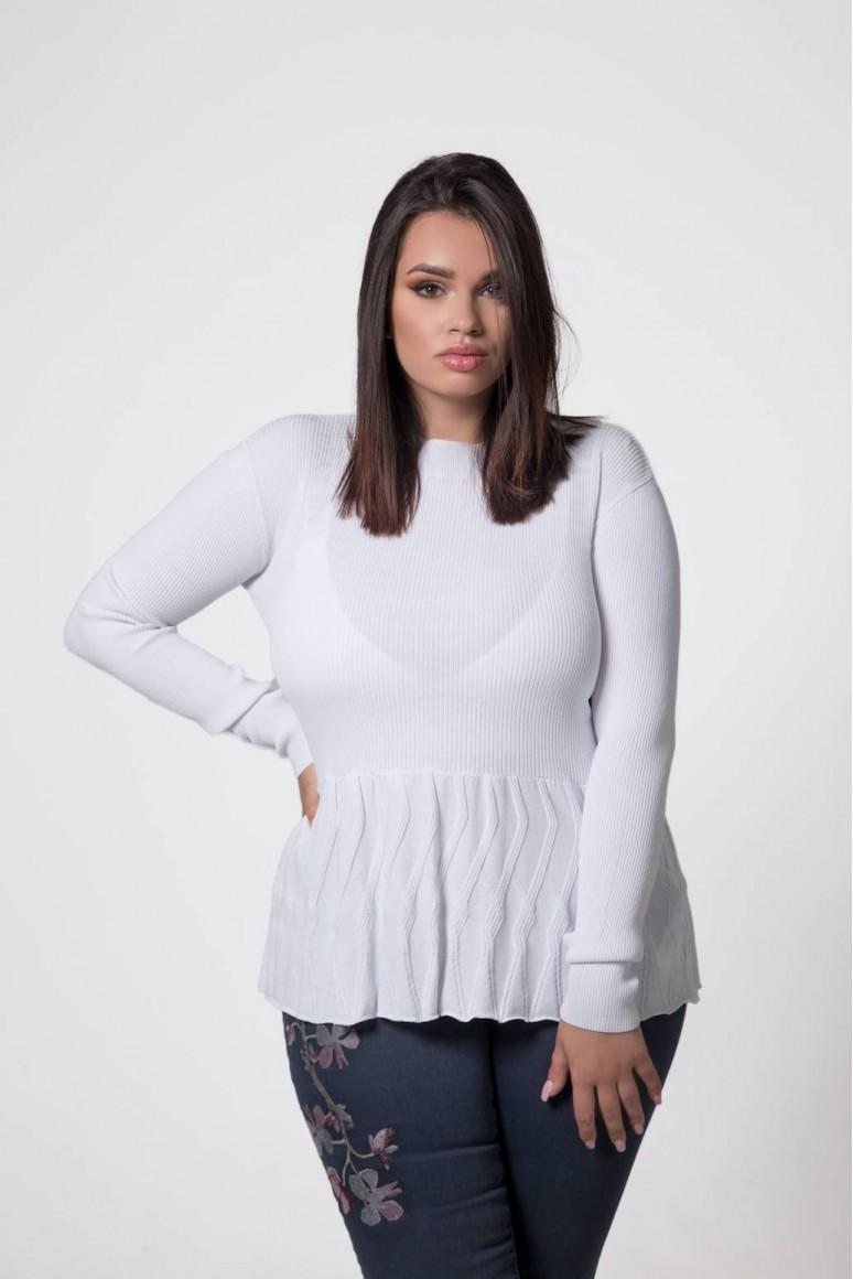 Бяла плетена макси блуза