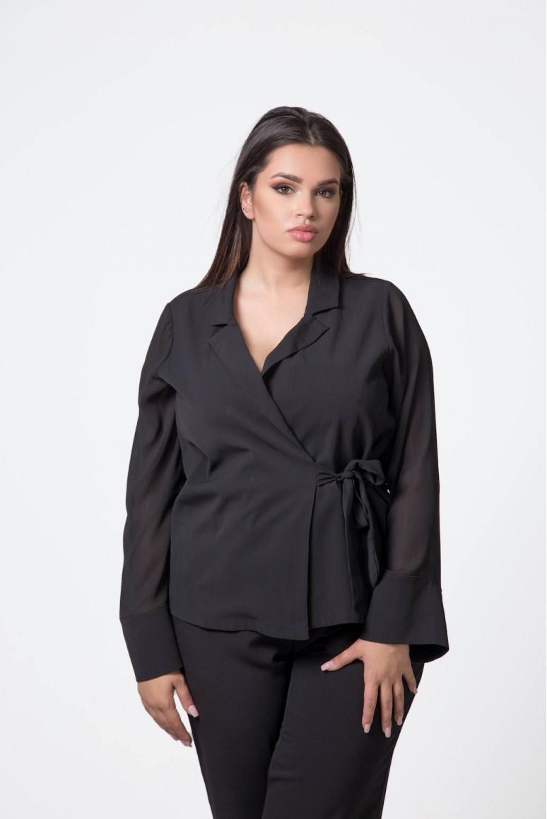 Черна макси риза кимоно