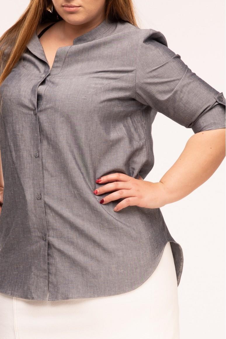 Дамска макси риза Робин кафяв меланж