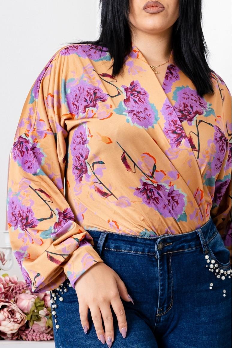 Дамско боди кимоно с флорален принт