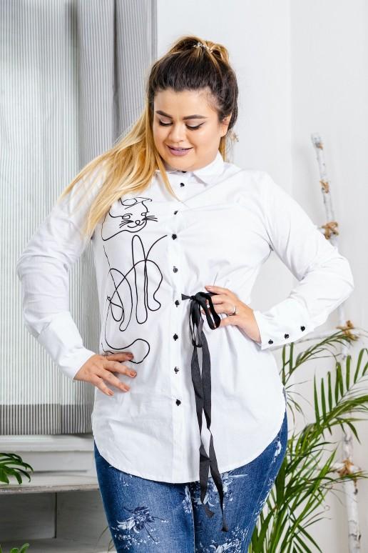Макси бяла риза с коте и колан