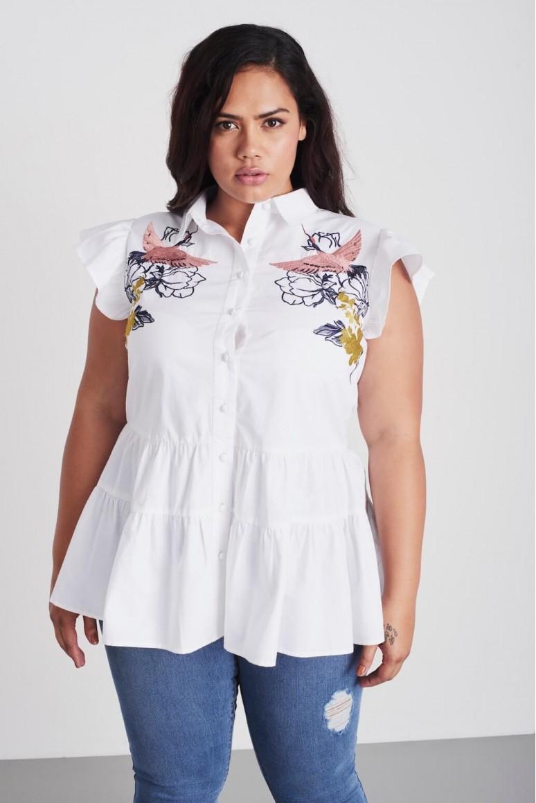 Макси блуза с бродерия с птици