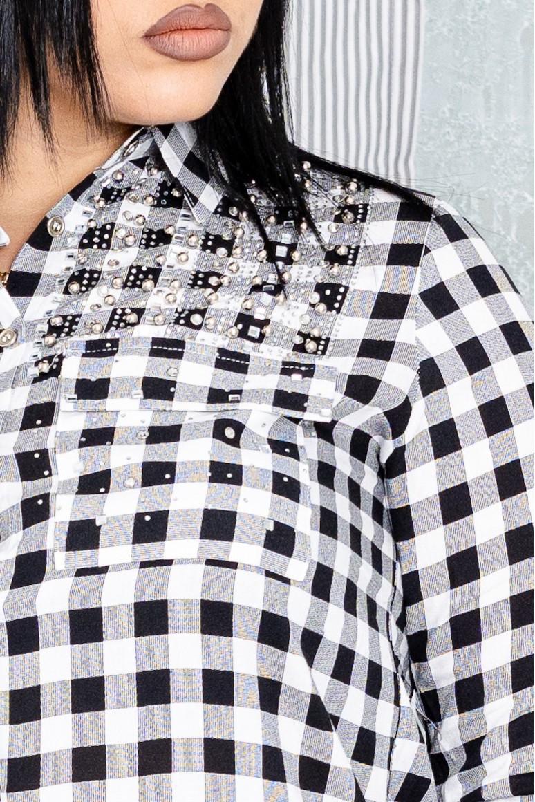 Макси риза черно и бяло каре с камъни